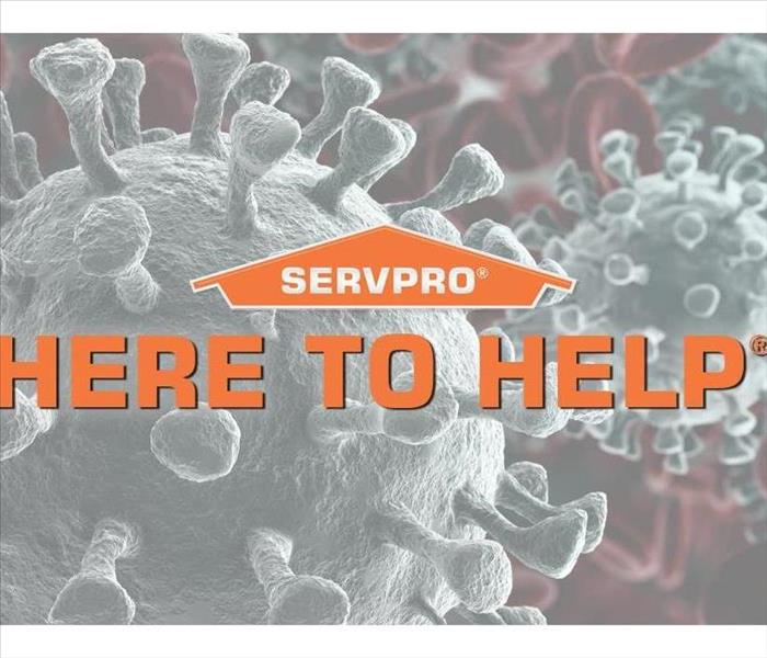 "Servpro Bacteria background with ""Here to Help"" slogan"